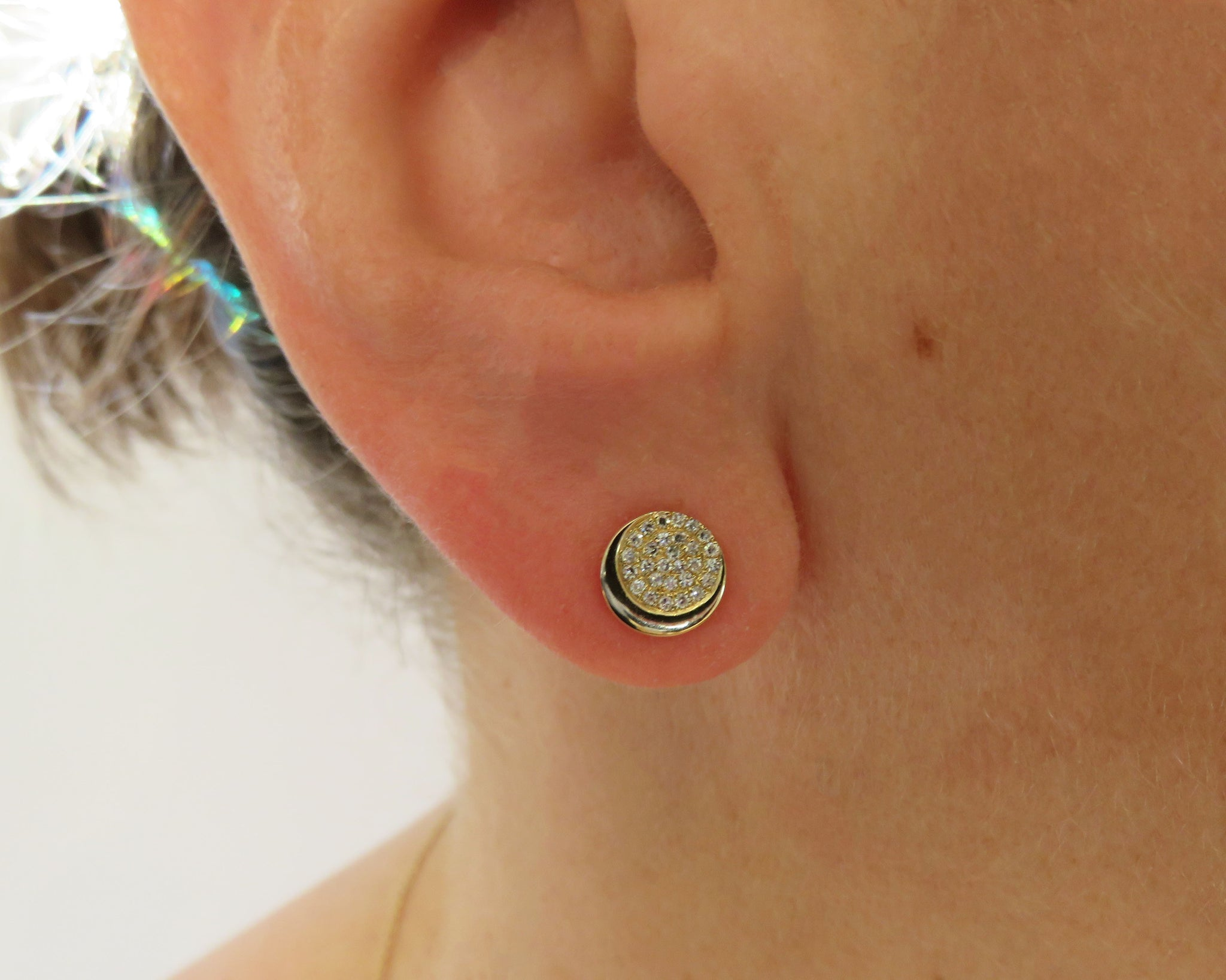 14k gold and diamond moon earrings