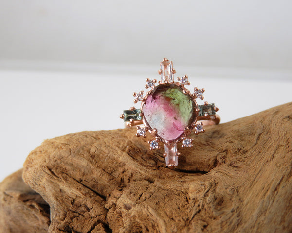 Tourmaline, sapphire and diamond ring