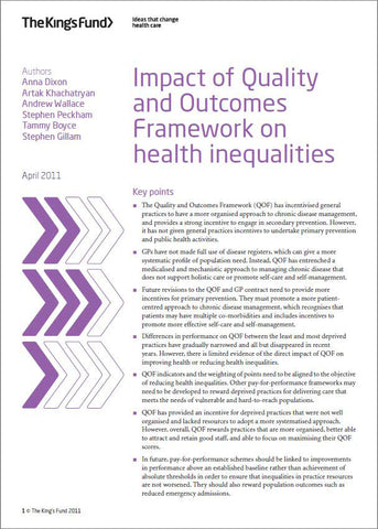 Impact of Quality and Outcomes Framework on health inequalities