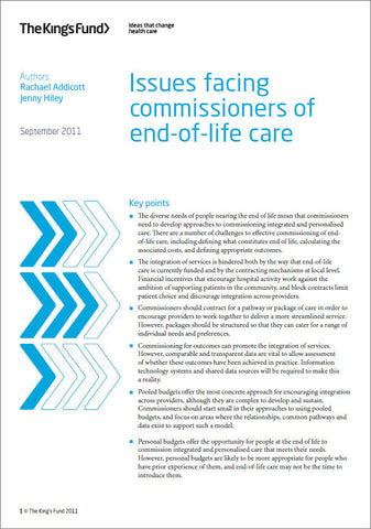 Issues facing commissioners of end-of-life care