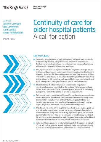 Continuity of care for older hospital patients