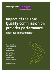 Front cover of Impact of the CQC Commission on provider performance report