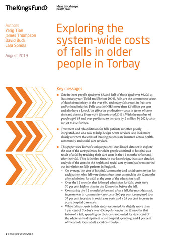 Exploring the system-wide costs of falls in older people in Torbay
