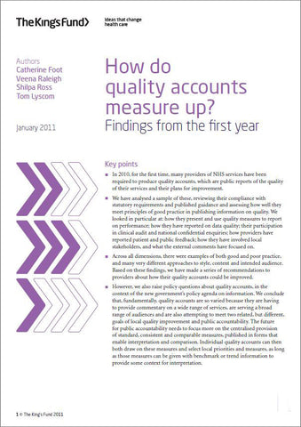 How do quality accounts measure up?