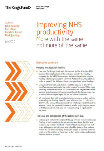 Improving NHS productivity