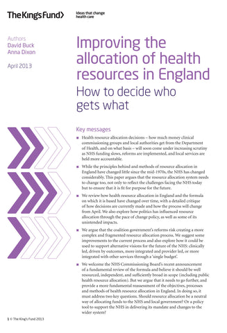 Improving the allocation of health resources in England