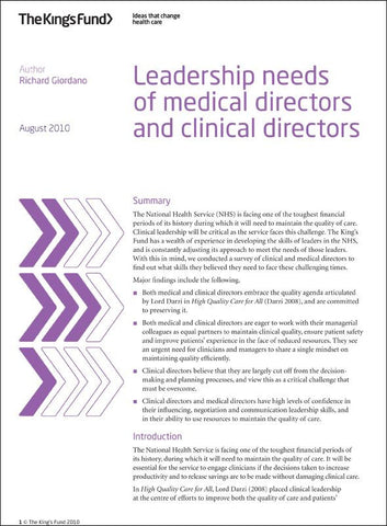 Leadership needs of medical directors and clinical directors