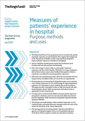 Measures of patients' experience in hospital