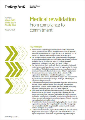Medical revalidation: From compliance to commitment