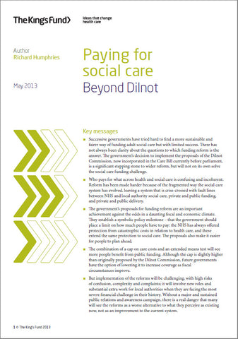 Paying for social care: Beyond Dilnot