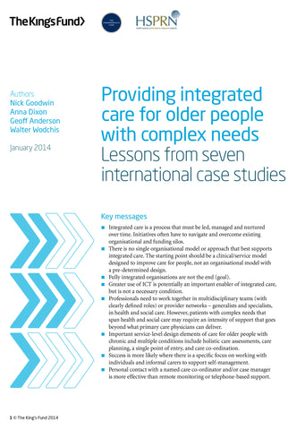 Providing integrated care for older people with complex needs