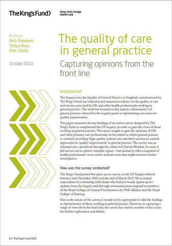 The quality of care in general practice