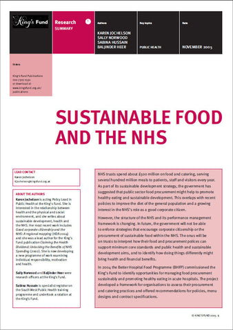 Sustainable Food and the NHS