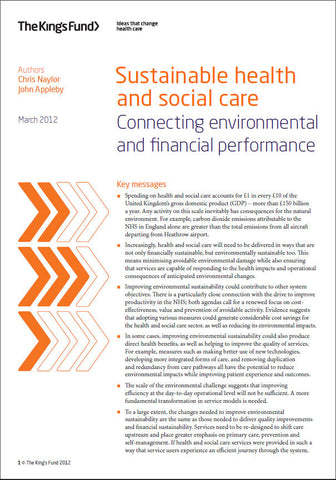 Sustainable health and social care