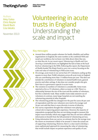 Volunteering in acute trusts in England: Understanding the scale and impact