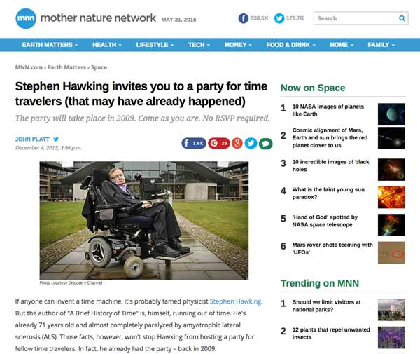 Mother Nature Network Stephen Hawking's Time travellers Invitation