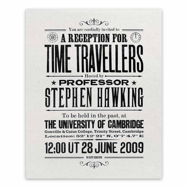 Stephen Hawking's Time Travellers Invitation: Limited Edition Print (handmade paper)
