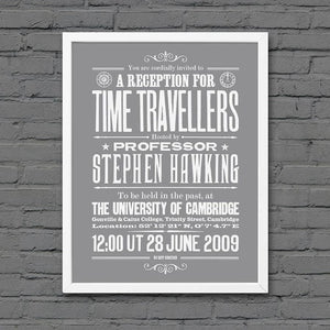 Stephen Hawking's Time Travel Experiment poster, white on Smoke, framed