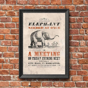 Vintage Mashups Print: Elephant Needed at Once – full bleed, framed