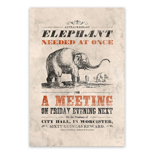 Vintage Mashups Print: Elephant Needed at Once – full bleed