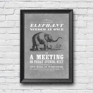 Vintage Mashups Print: Elephant Needed at Once – slate, full bleed, framed