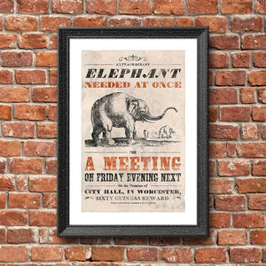 Vintage Mashups Print: Elephant Needed at Once – on white, framed