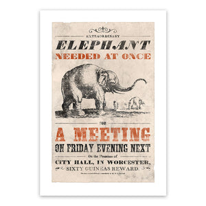 Vintage Mashups Print: Elephant Needed at Once – on white