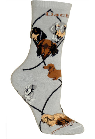 3 Dachshunds Crew Socks on Gray
