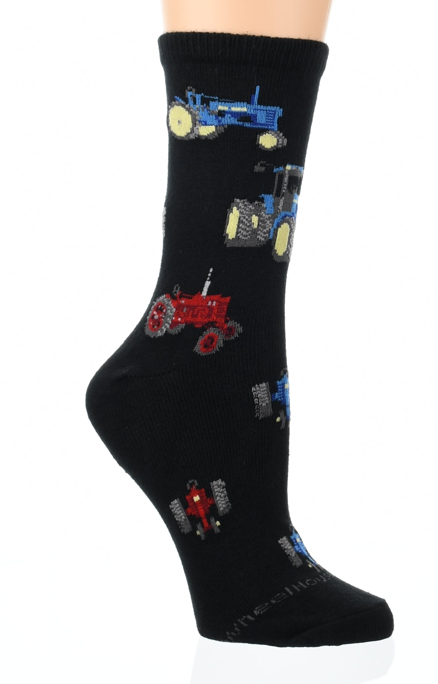 Red and Blue Tractors Crew Sock on Black