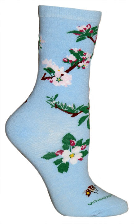 Apple Blossoms Lightweight Crew Socks on Light Blue