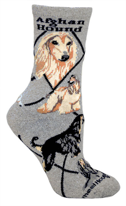 Afghan Hound Crew Socks on Gray