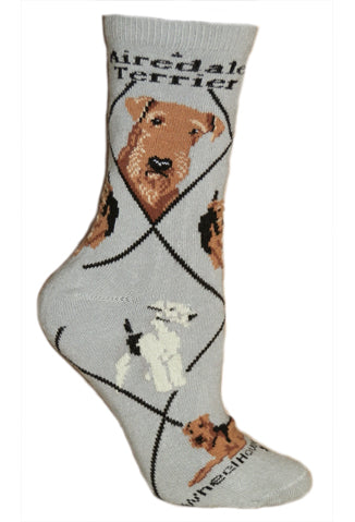 Airedale Terrier Crew Sock On Grey Background