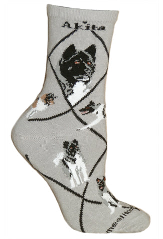 Akita Crew Socks on Gray