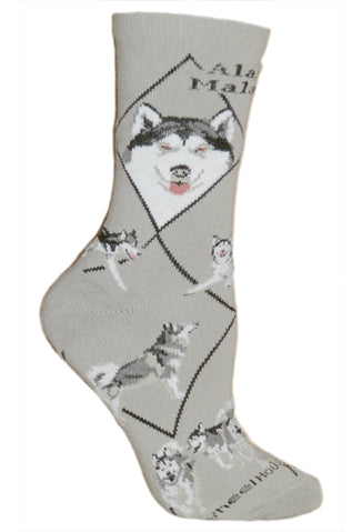 Alaskan Malamute Crew Socks on Gray