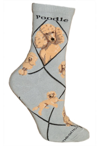 Poodle, Apricot on Gray Crew Socks