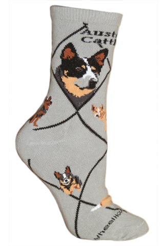 Australian Cattle Dog Crew Socks on Gray