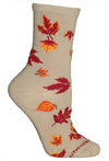 Autumn Leaves Crew Socks on Khaki