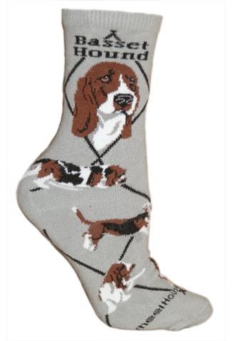 Basset Hound Crew Socks on Gray