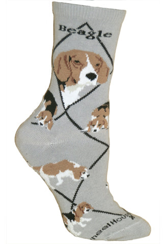 Beagle Crew Socks on Gray