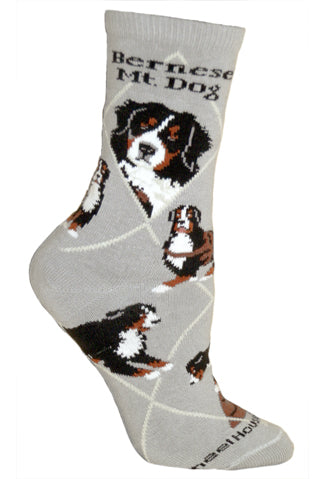 Bernese Mountain Dog Crew Socks on Gray