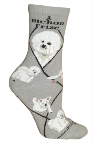 Bichon Frise Crew Socks on Gray