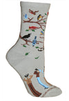 Birdwatcher Crew Socks on Gray