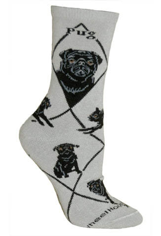 Black Pug on Gray Crew Socks