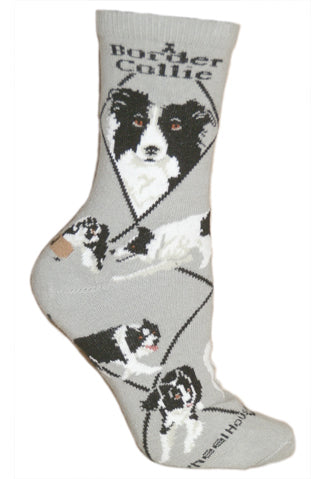 Border Collie Crew Socks on Gray