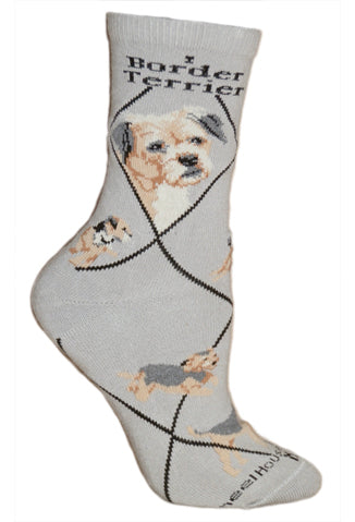Border Terrier Crew Socks on Gray