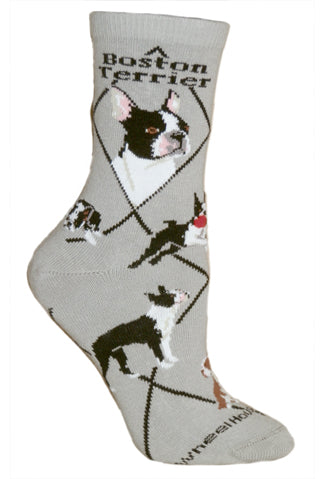 Boston Terrier Crew Socks on Gray