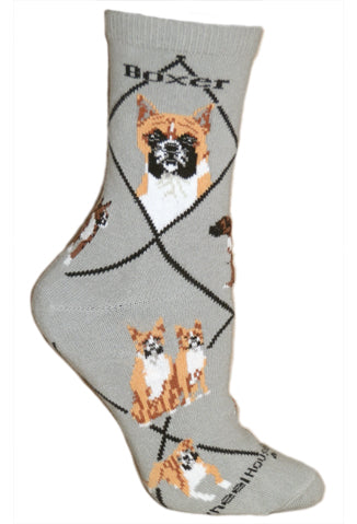Boxer Crew Socks on Gray
