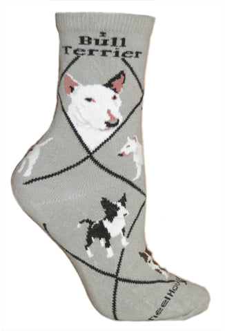 Bull Terrier Crew Socks on Gray