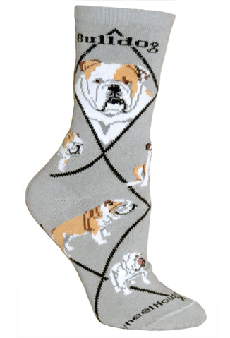 Bulldog Crew Socks on Gray