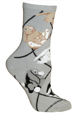 Bunnies Crew Socks on Gray
